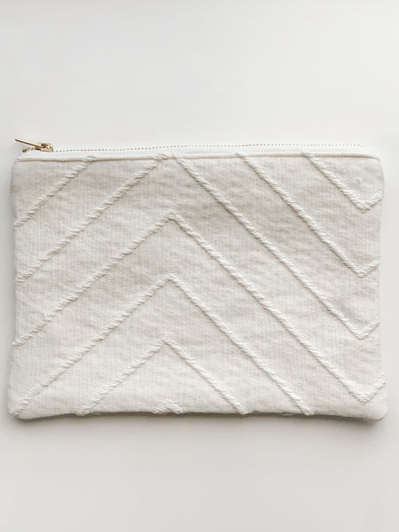 Chevron White Zipper Pouch (no. 1)