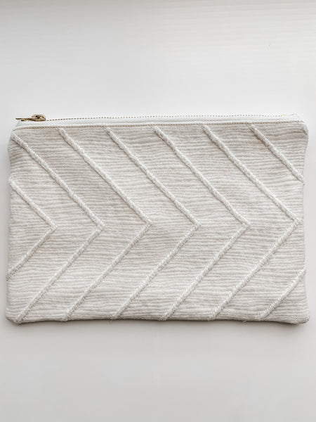 Chevron White Zipper Pouch (no. 2)