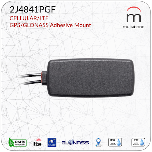 2J4841PGF CELLULAR/LTE and GPS/GLONASS Adhesive Mount - www.multiband-antennas.com