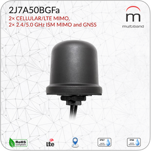 2J7A50BGFa 2× CELLULAR/LTE MIMO, 2× 2.4/5.0 GHz ISM MIMO and GNSS - www.multiband-antennas.com