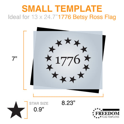 1776 13 Star stencil (Union) Betsy Ross 1776 Template ideal for creating Betsy Ross Flag on wood, walls, canvas, fabrics; ideal for memorial day, independence day, 4th of july, patriotic stencil
