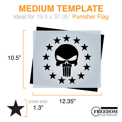 PUNISHER STENCIL - 13 Star Punisher Template ideal for painting gear, wood, walls, canvas, fabrics, Military stencil template