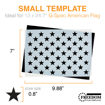 American Flag 50 STAR FIELD | G-SPEC Flag Template, 50 star field stencil template ideal for creating American Flag on wood, walls, canvas, fabrics, Patriotic diy stencil