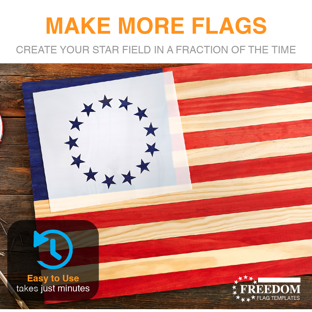 Betsy Ross Stencil 13 Star Flag Template