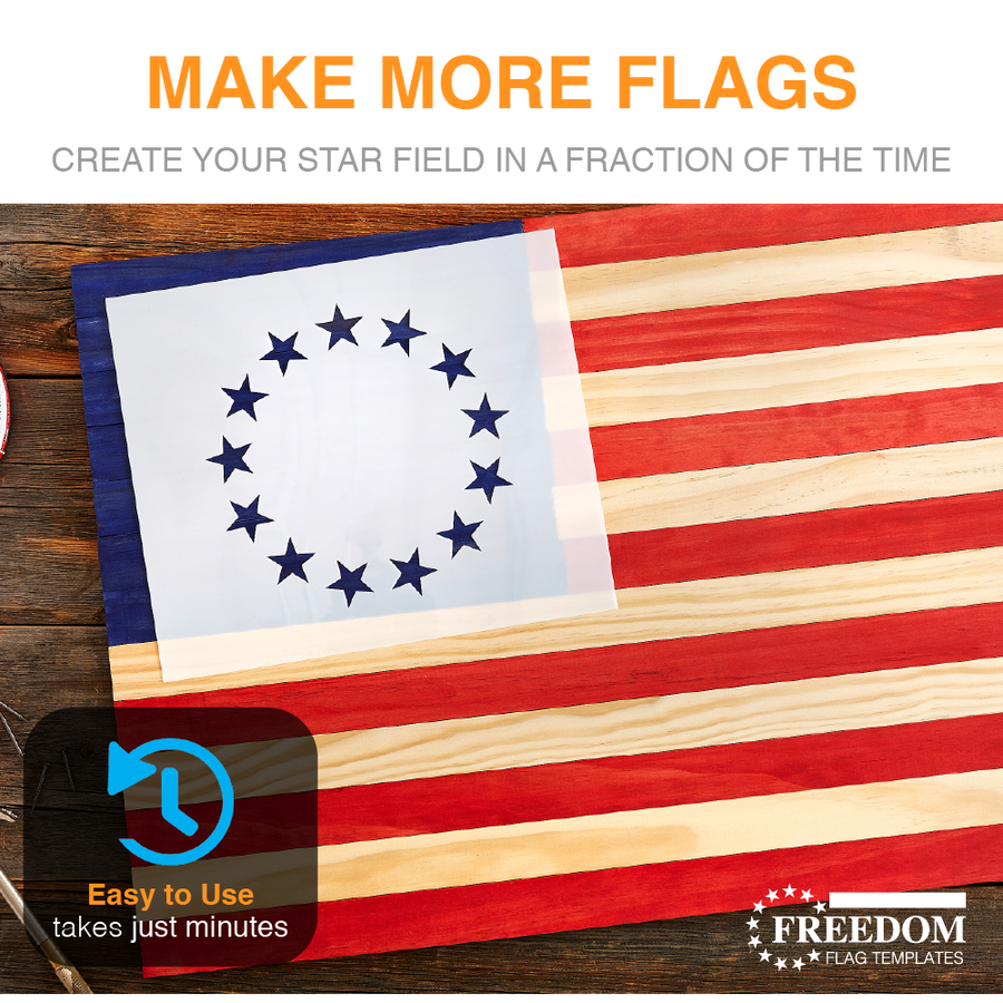 Betsy Ross Stencil | 13 STAR Flag Template, 13 Star (Union) Betsy Ross Template ideal for creating Betsy Ross Flag on wood, Patriotic stencil