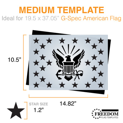 U.S. Navy Star-field stencil, G-SPEC Flag Template, USN star field stencil template ideal for creating Flag on wood, walls, canvas, fabrics, Military stencil