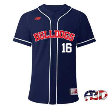 Image of NB ABD BULLDOGS FULL BUTTON NAVY JERSEY