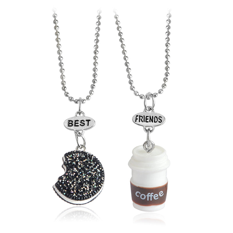 2pcs/set  Biscuits & Coffee Best Friends Necklace