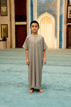 Boys Cotton Ikaf Abaya - Soil