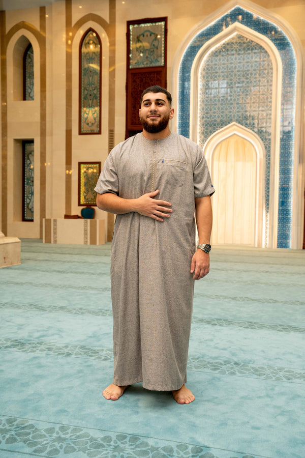 Mens Ikaf Cotton Abaya - Soil