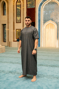 Mens Ikaf Cotton Abaya - Charcoal