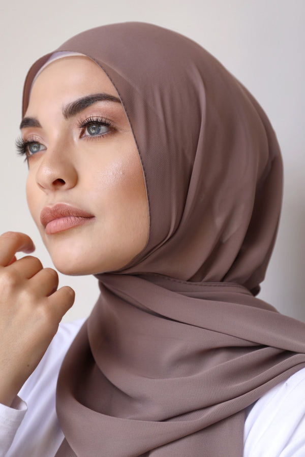 Chiffon Rectangle Hijab - 168 Brown
