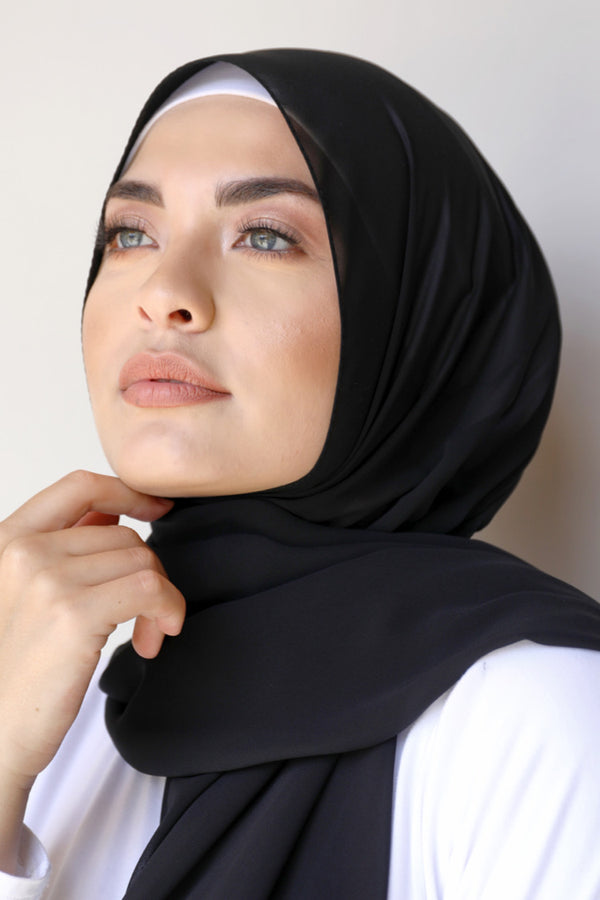 BNAH005 - Plain Crepe Georgette Shawl- 1.Black