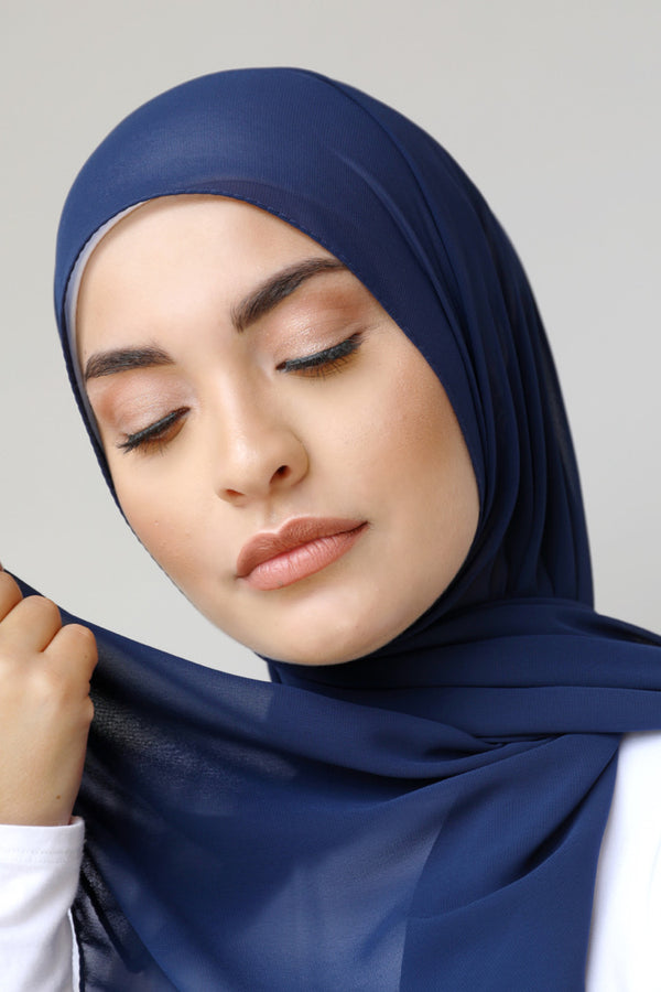 BNAH005 - Chiffon Rectangle Hijab - 11.Navy
