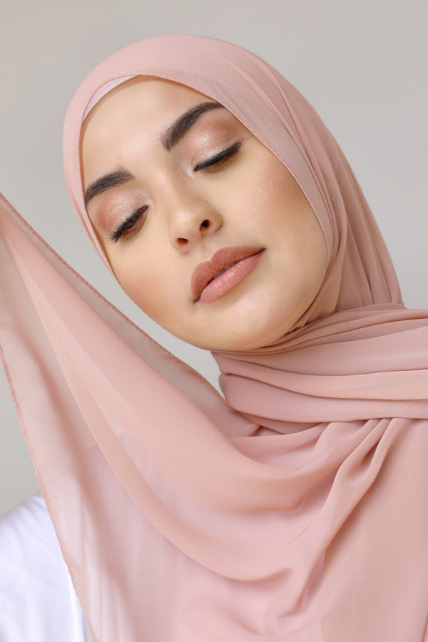 BNAH005 - Plain Crepe Georgette Scarf - 131.Dusty Pink