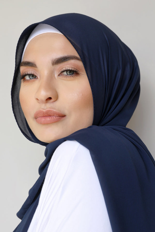 Chiffon Rectangle Hijab - 13 Navy