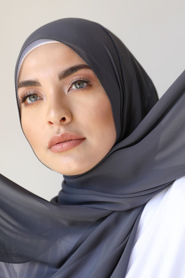 BNAH005 - Chiffon Rectangle Hijab - 27.Charcoal