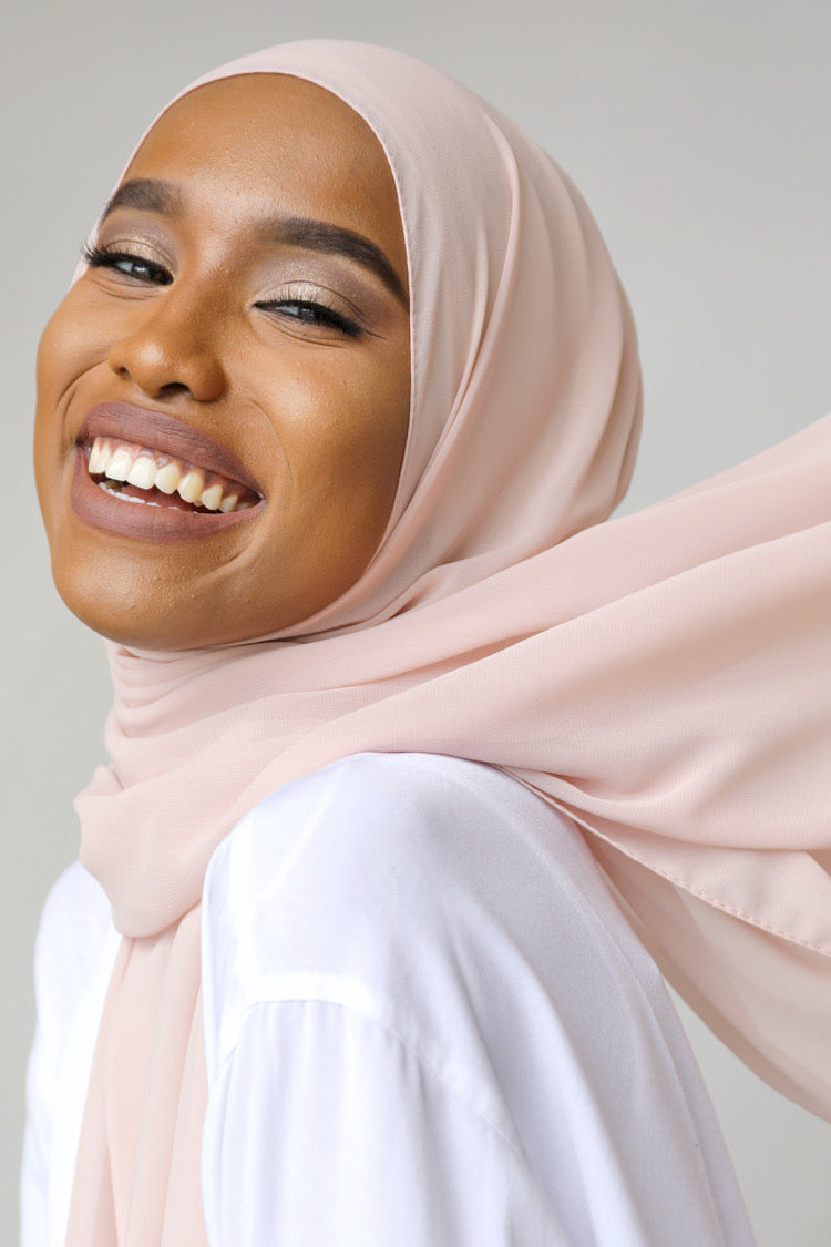 BNAH005 - Chiffon Rectangle Hijab - 96. Dusty Nude