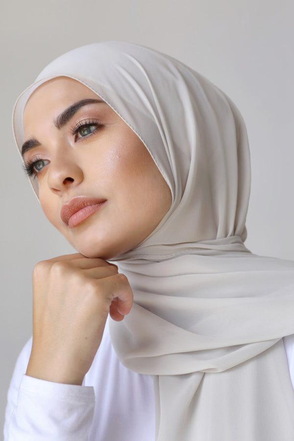 BNAH005 - Chiffon Rectangle Hijab - 118.Ash Grey