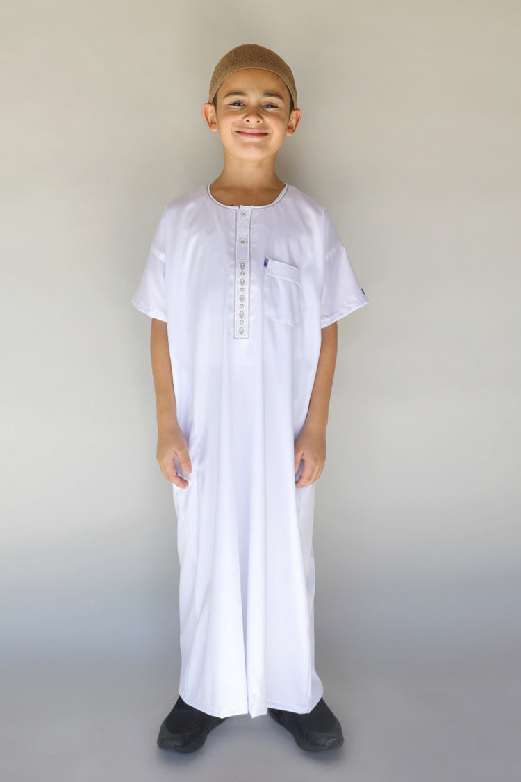 Boys Ikaf Short Sleeve Abaya - White