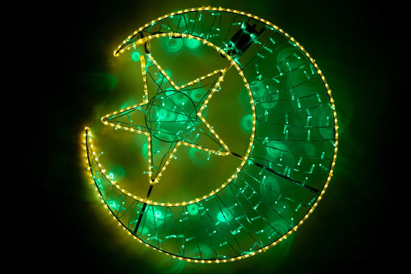 2D Light Up Moon & Star - Green