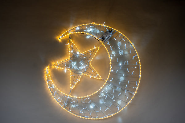 2D Light Up Moon & Star - White