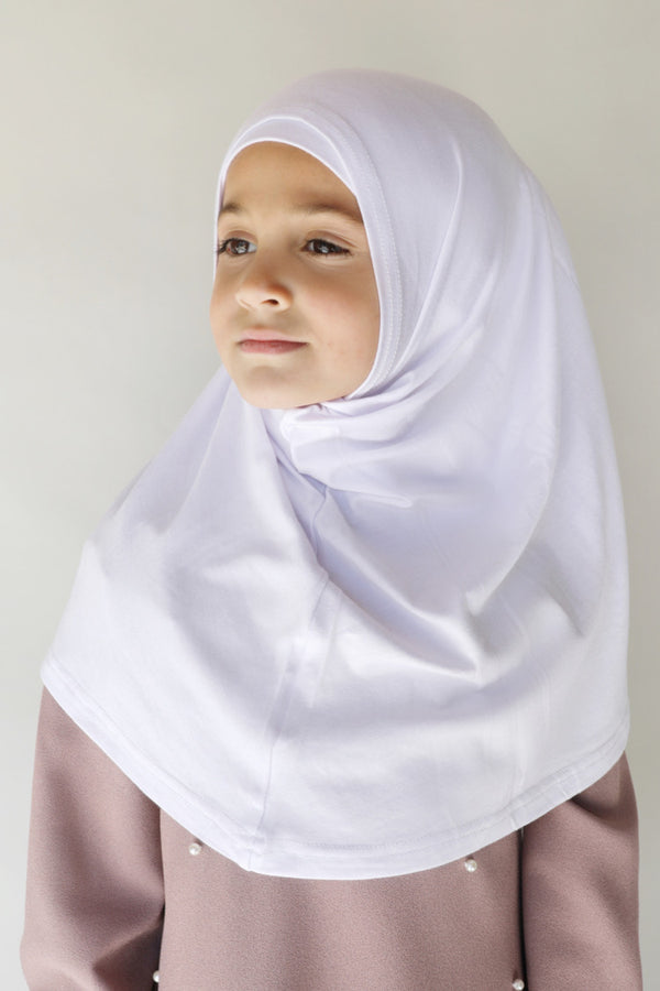 Girls 2pc Jersey Hijab - 20_White