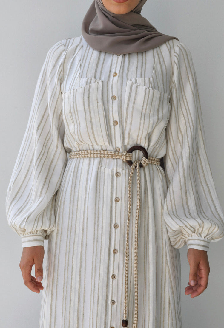 Gaia Belted Button Dress - Beige Stripe
