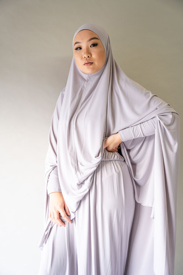 Jilbab Prayer Set - Gull Gray