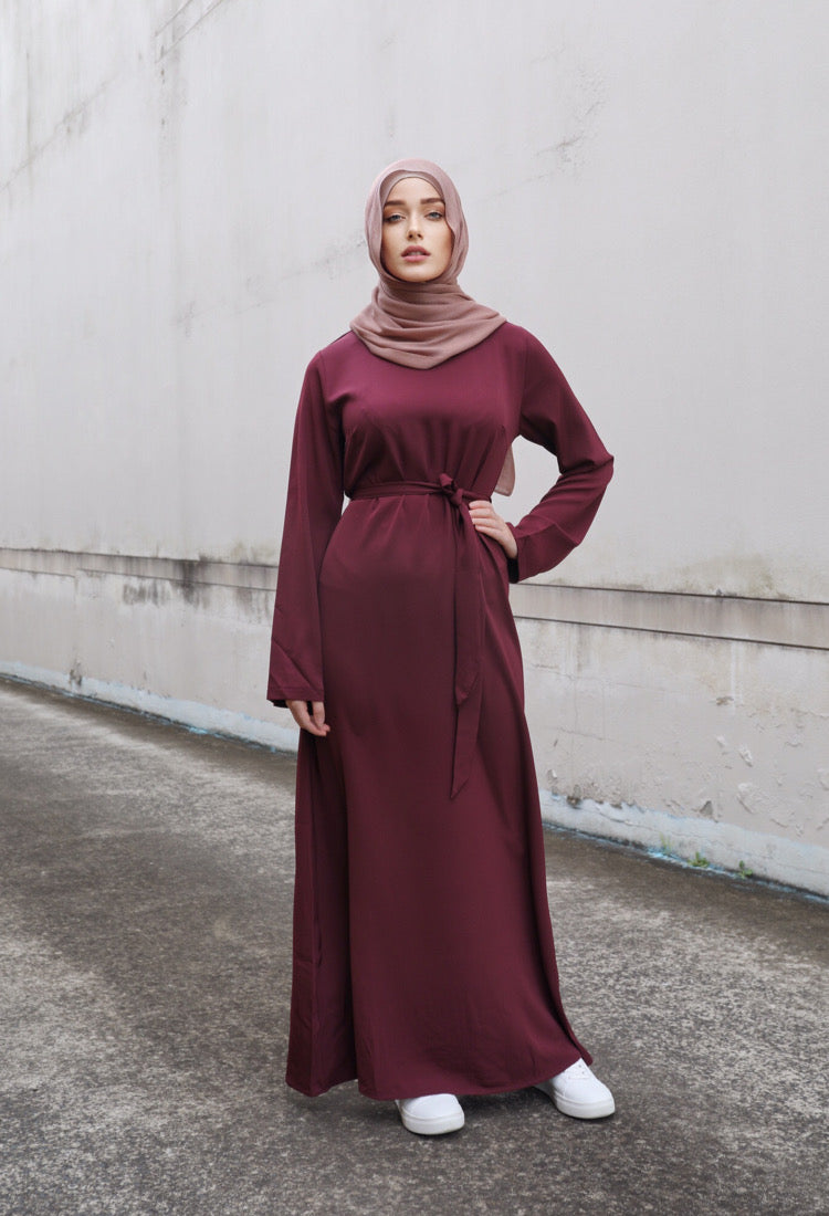 Ladies Plain Signature Abaya - 36 Maroon