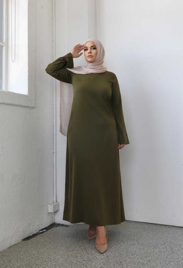 Ladies Plain Signature Abaya - 42 Khaki
