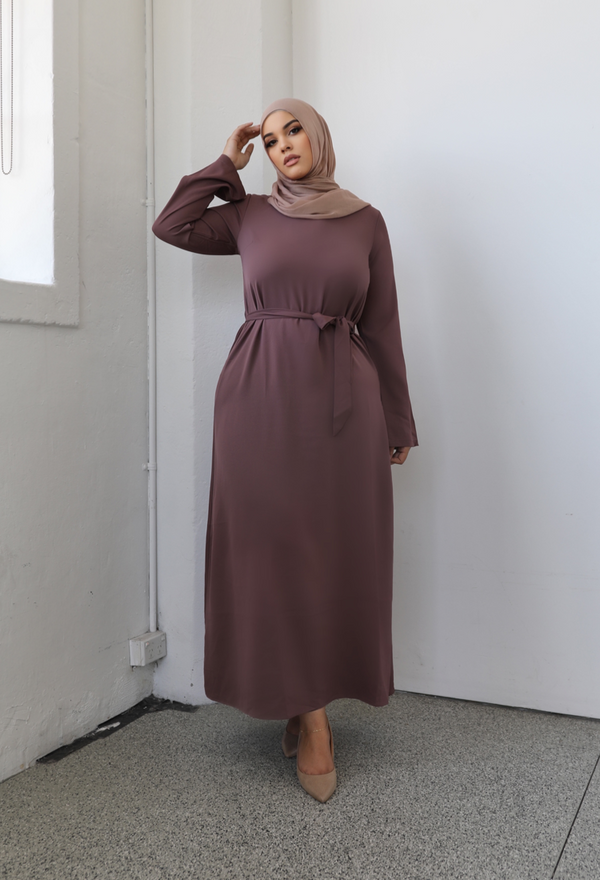 Ladies Plain Signature Abaya - 44 Mauve