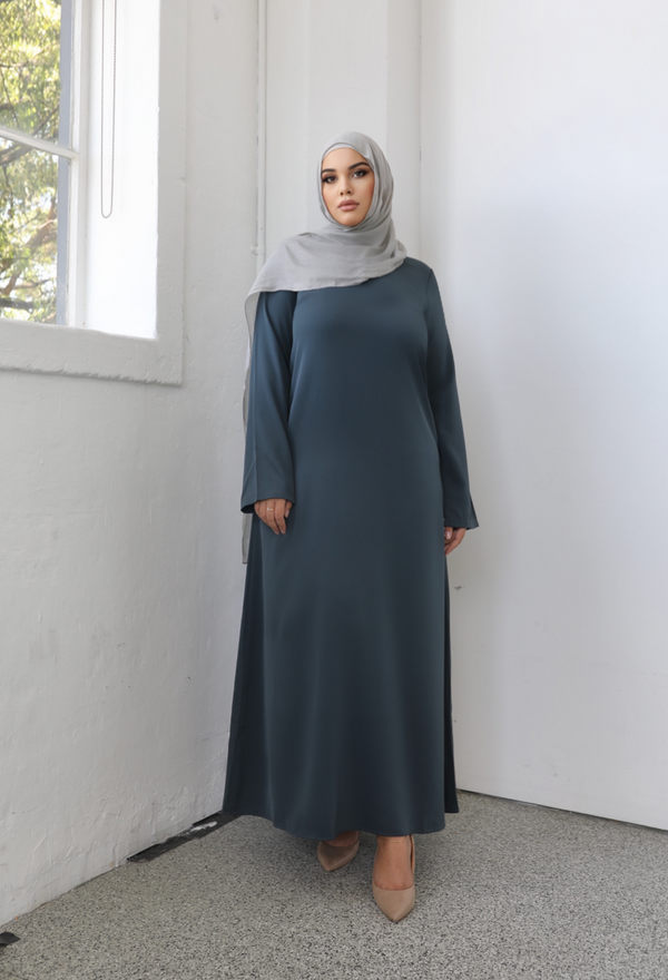 Ladies Plain Signature Abaya - 46 Army Green