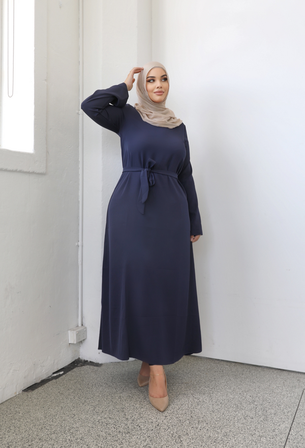 Ladies Plain Signature Abaya - 54 Navy