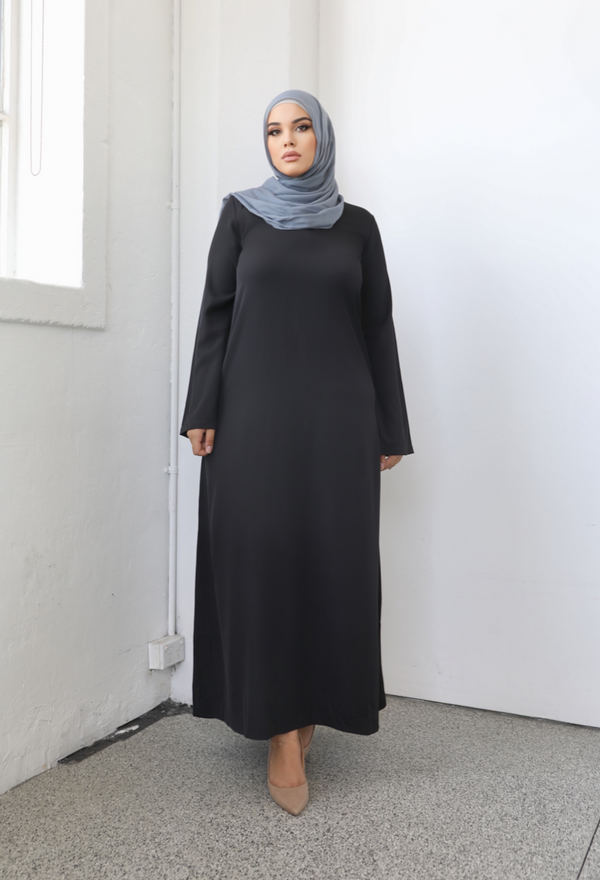 Ladies Plain Signature Abaya - Black