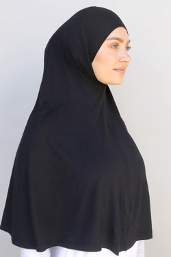 Ladies 1pc Jersey XL Hijab - Black