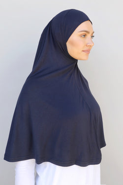 Ladies 1pc Jersey XL Hijab - Navy