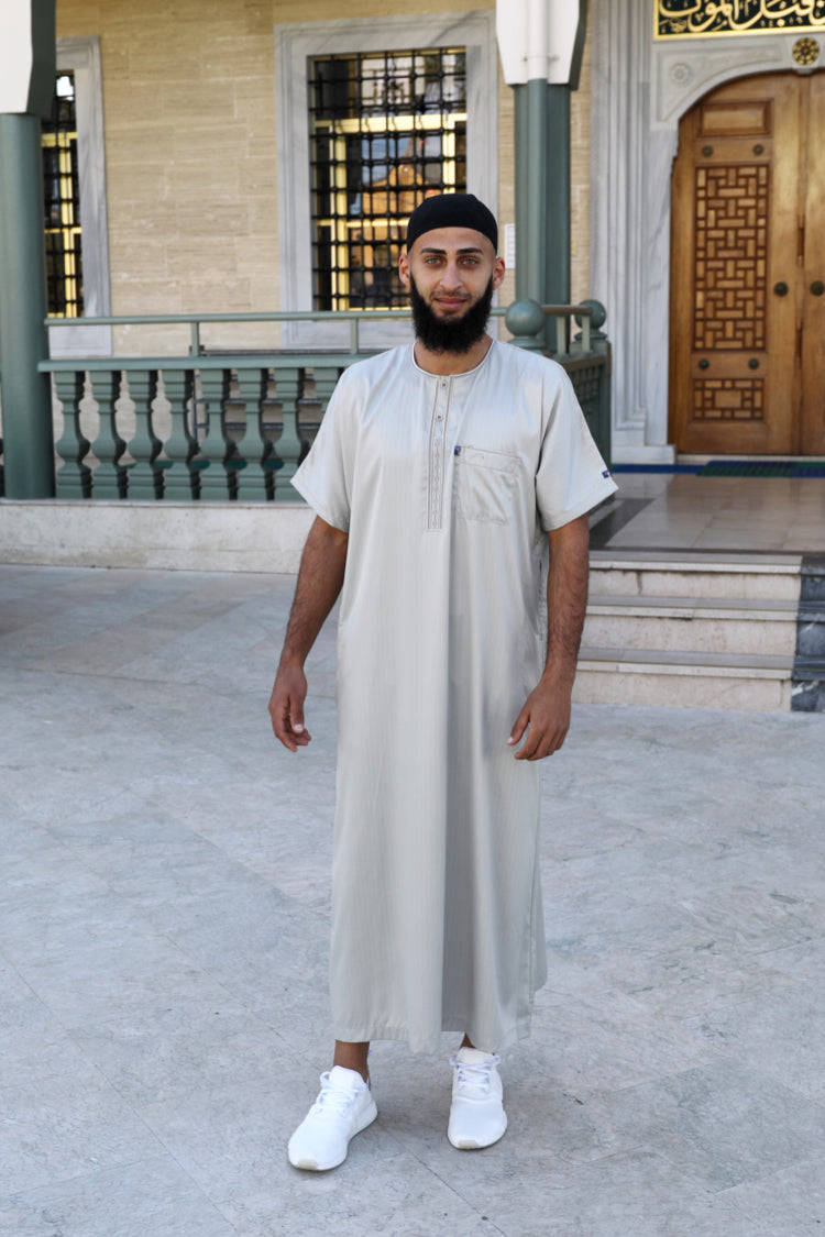 Men Ikaf Polyester Short Sleeve Abaya-Honeydew