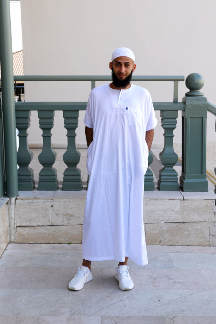 Mens Ikaf Polyester Short Sleeve Abaya - White