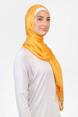 WOPCS-Womens Plain Cotton Shawls -51B_Yellow