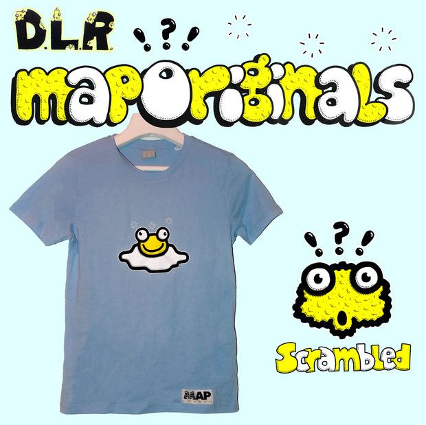 SCRAMBLED MINI T-SHIRT ON ORGANIC SKY BLUE