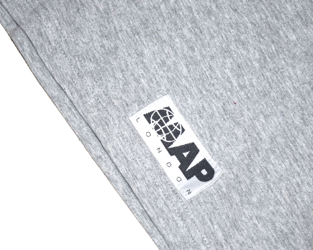 ASTRONORTH LONGSLEEVE T-SHIRT HOODIE ON ORGANIC GREY MARL