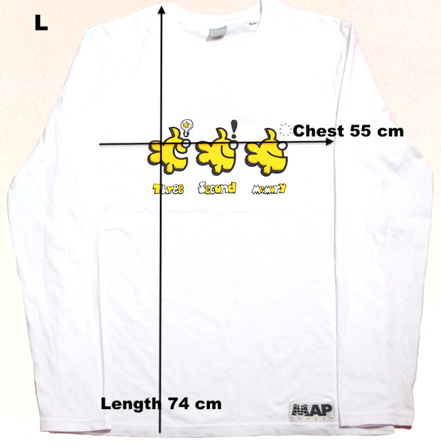 THREE SECOND MEMORY LONGSLEEVE TEE ON ORGANIC WHITE