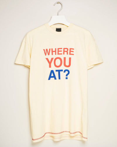 """WHERE YOU AT (CREAM)"" t-shirt by MAP London"