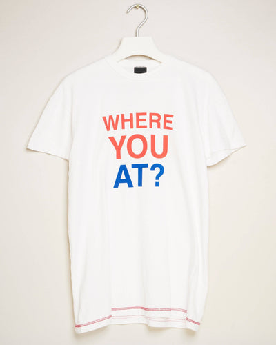 """WHERE YOU AT (WHITE)"" t-shirt by MAP London"