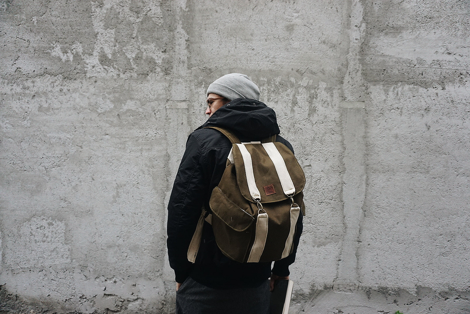Khaki canvas backpack