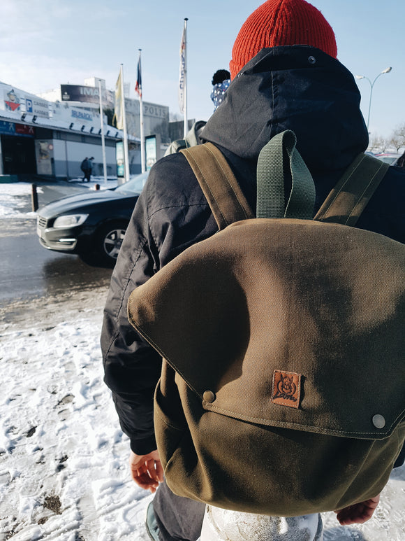 Khaki cotton canvas backpack