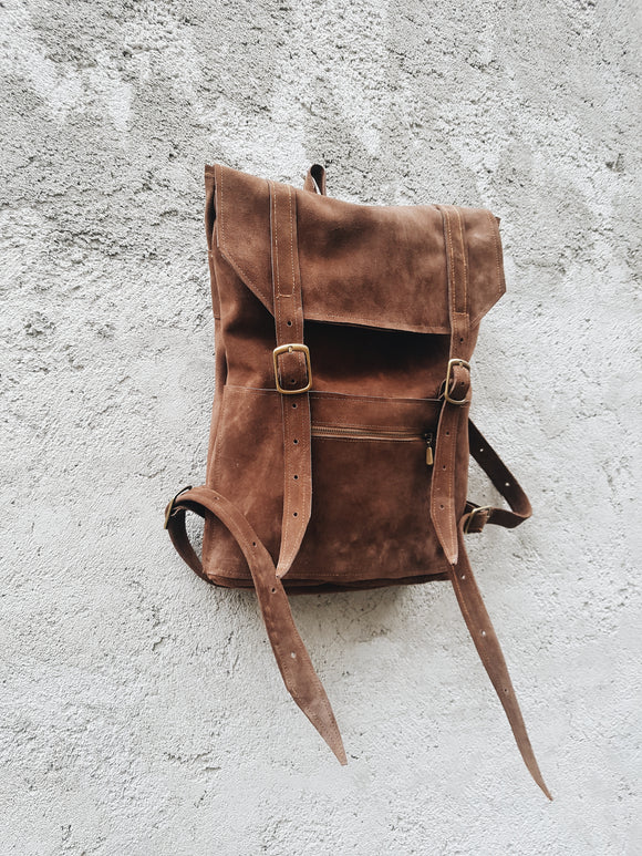 Chocolate suede leather backpack