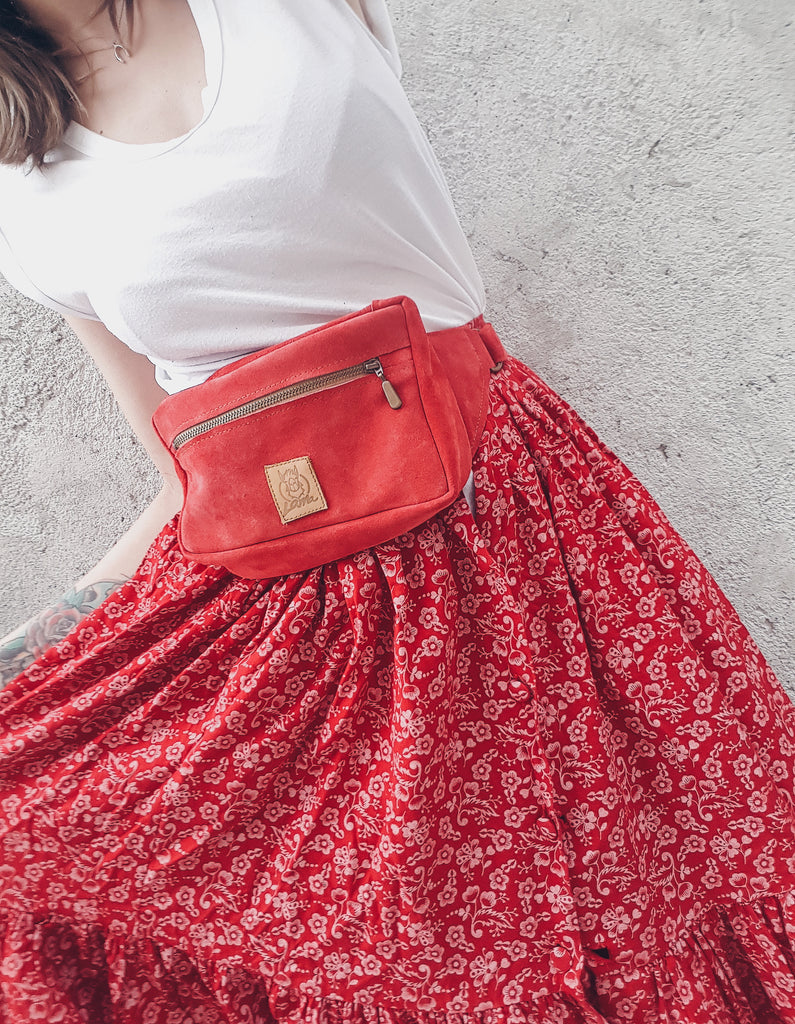 RED Suede Waist bag