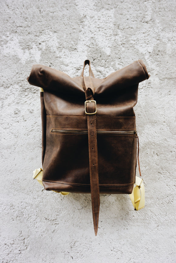 Chocolate rolltop leather backpack